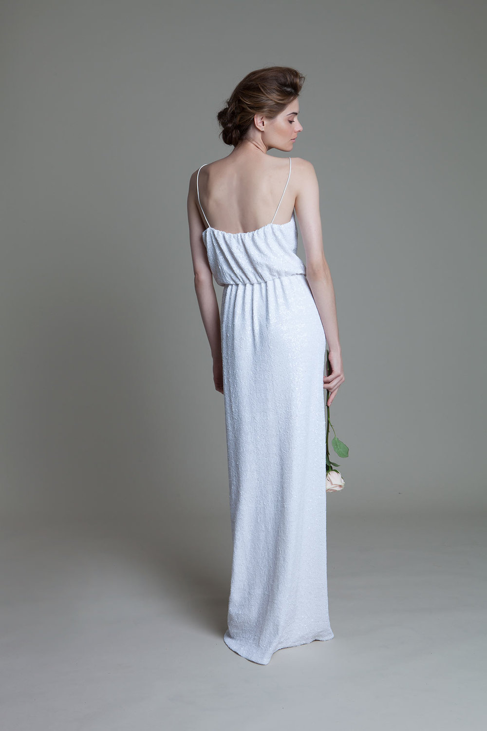 Back View of the Celeste Sequinned Dress with High Slit Wedding Dress by Halfpenny London