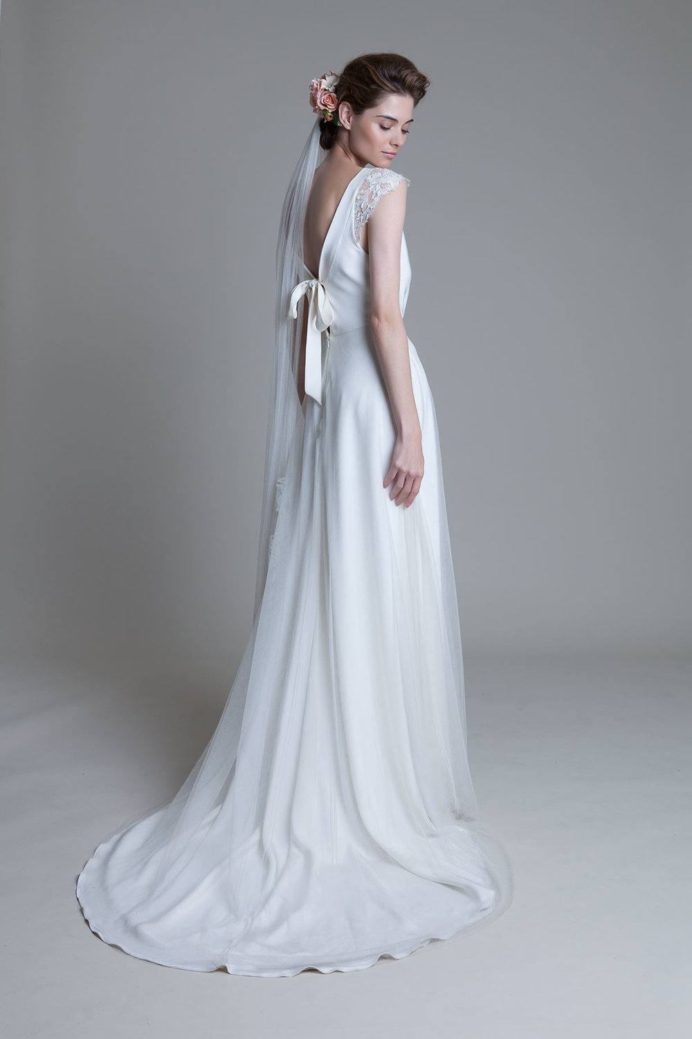 Back view of the Clare Silk Crepe Cowl Neck with Silk Tulle Circular Skirt Wedding Dress by Halfpenny London
