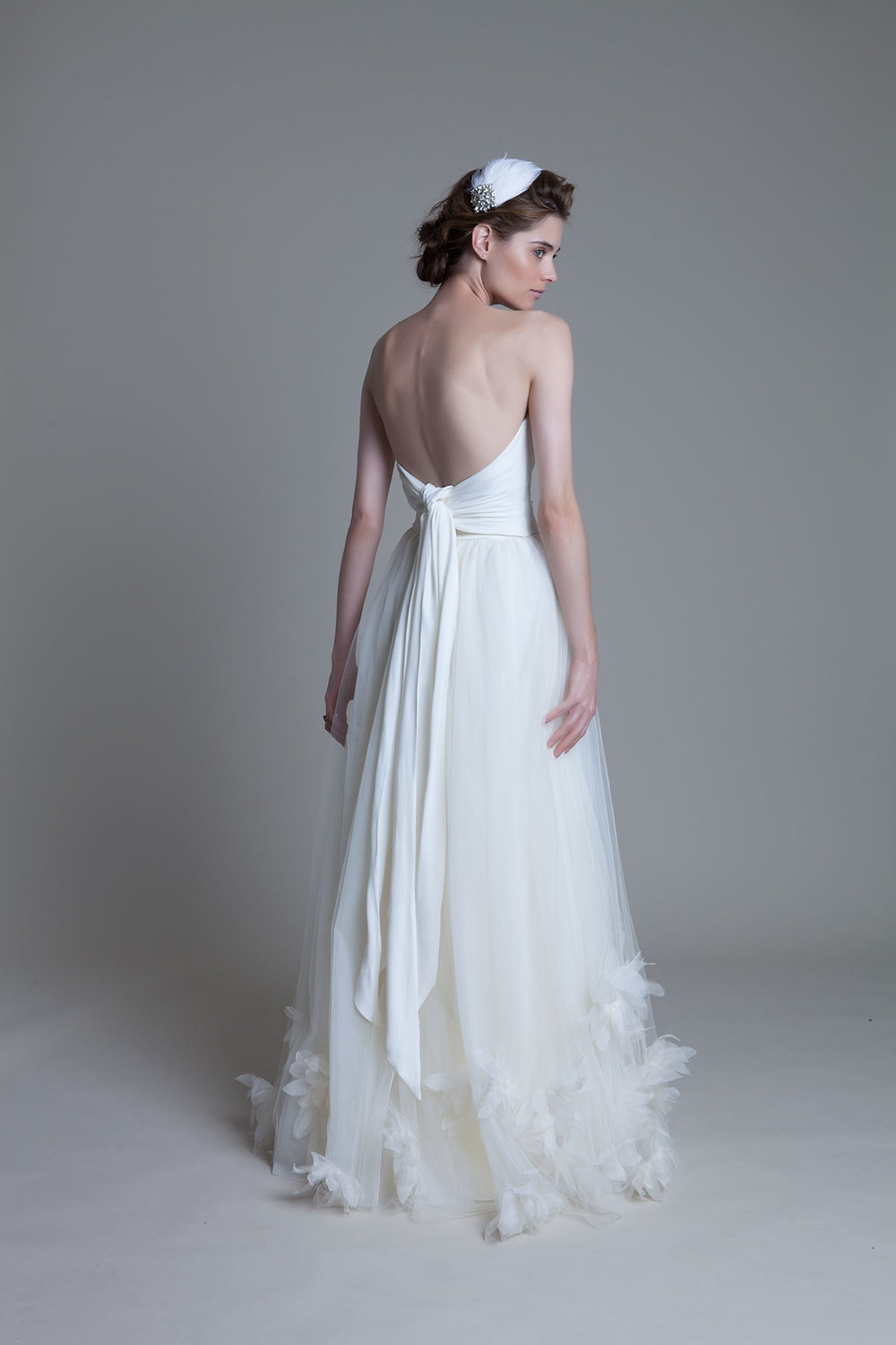 Back view of the Dita lace applique corset with the Dita Dandelion bridal wedding dress by Halfpenny London