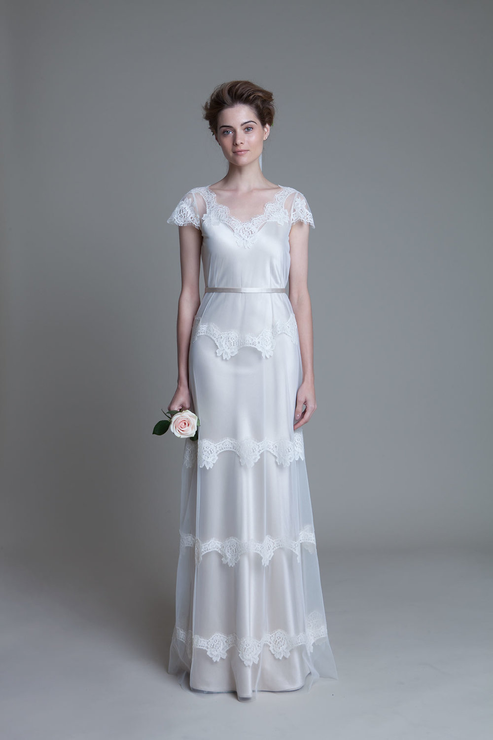 Emily Tulle and French Lace Dress with Narrow Belt Bridal Wedding Dress by Halfpenny London