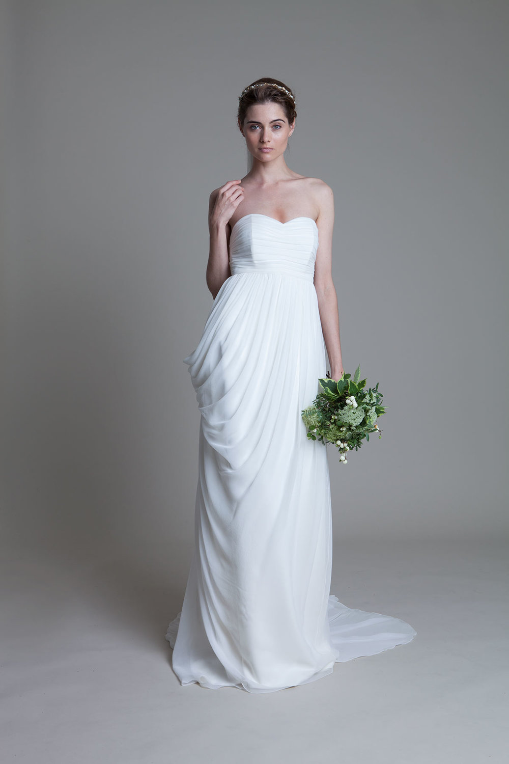 Georgina soft pleated chiffon boned bodice with a draped grecian chiffon skirt with train bridal wedding dress by Halfpenny London