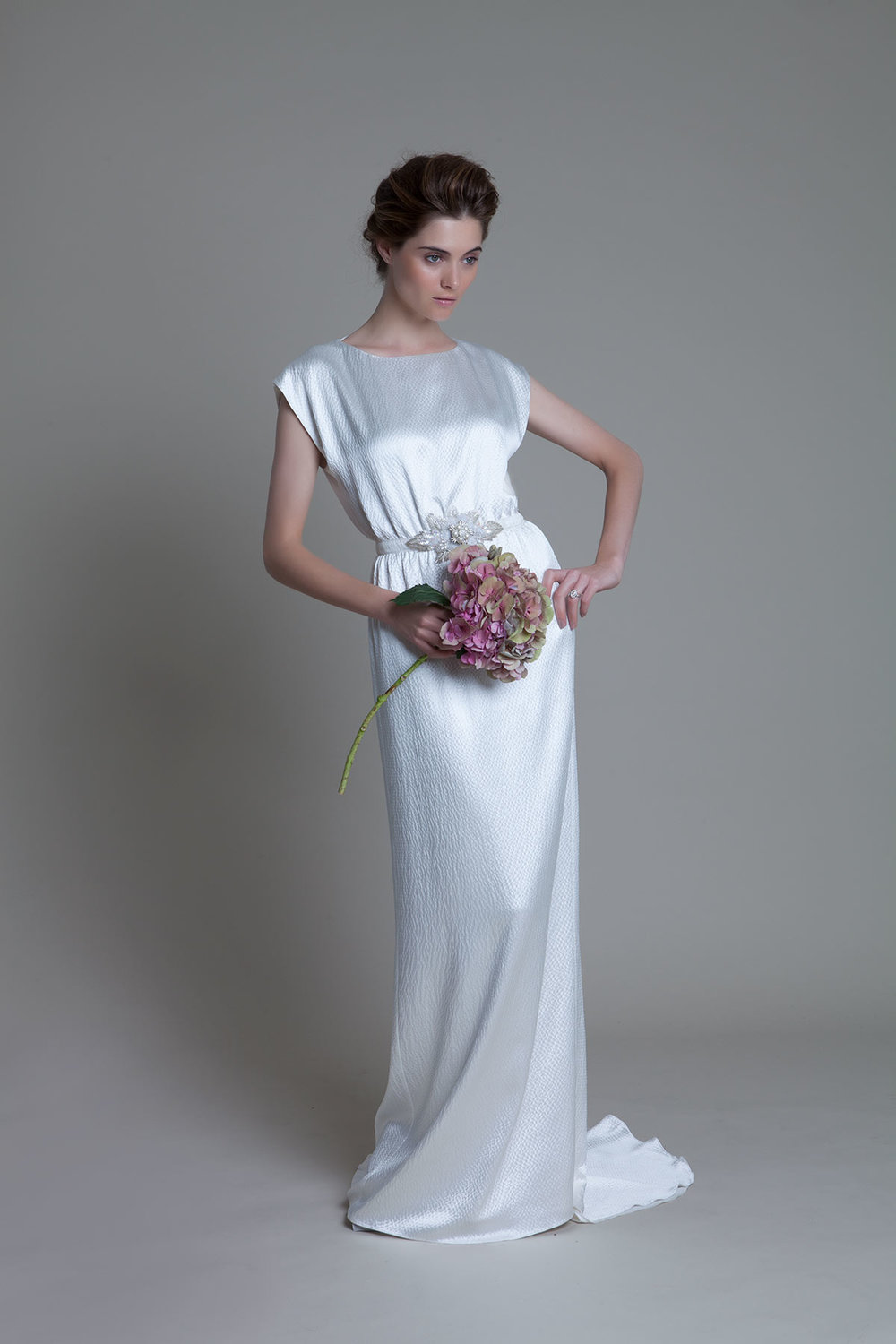 Hennie Dress in Hammered Silk and French Lace Trim bridal Wedding Dress by Halfpenny London