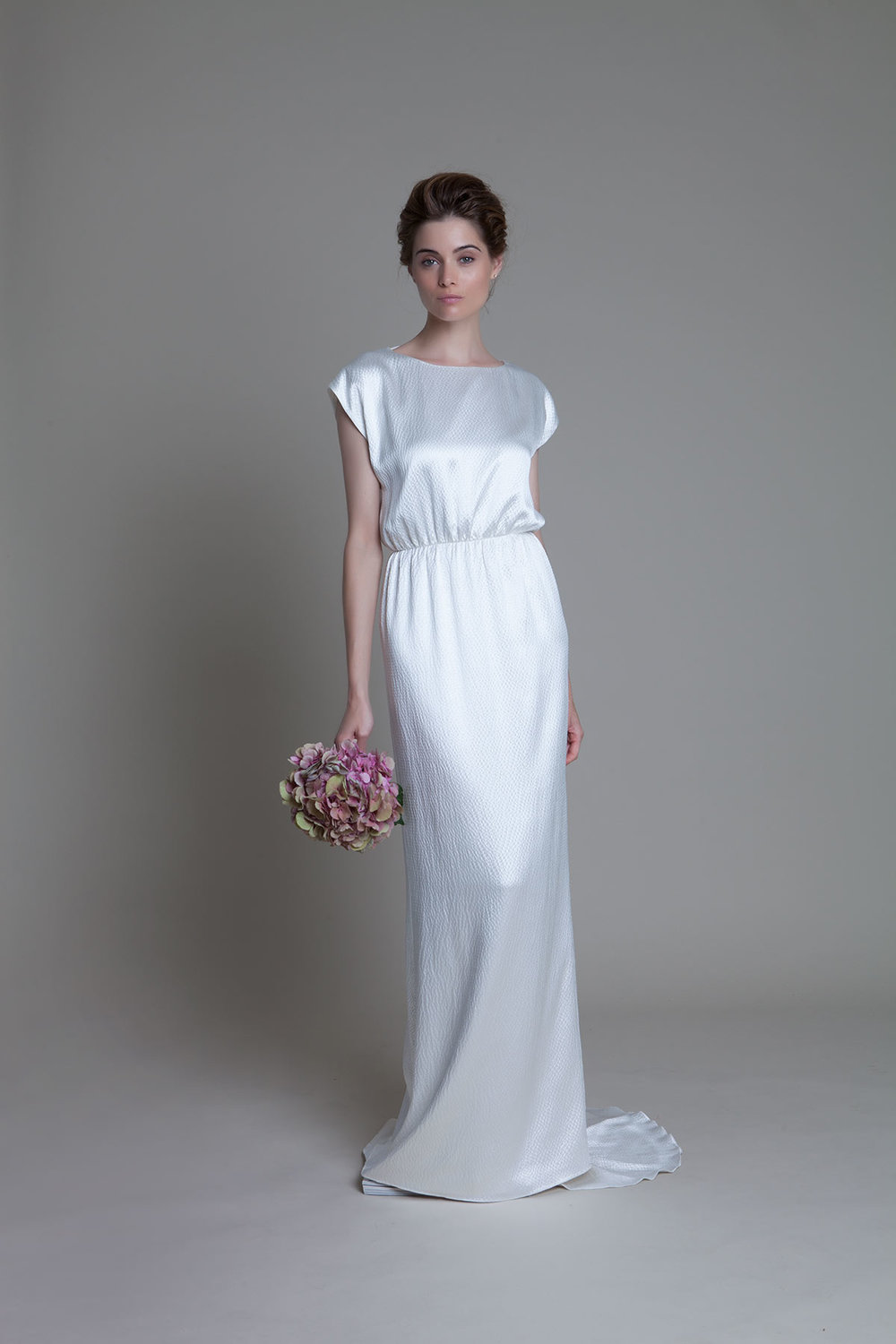Hennie hammered silk backless bridal wedding dress by Halfpenny London