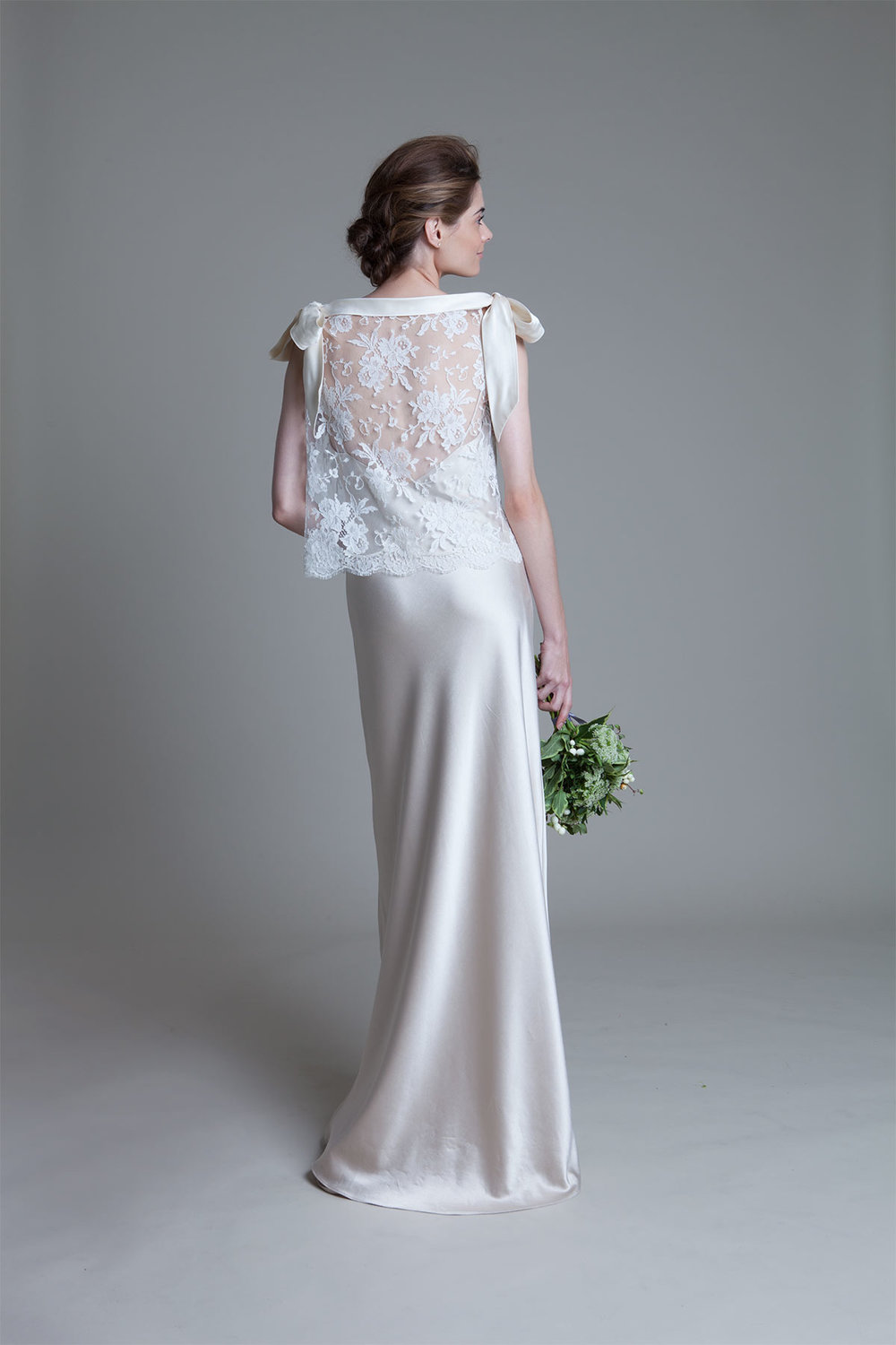 Back view of the Irene french lace top with blush Iris slip wedding dress by Halfpenny London