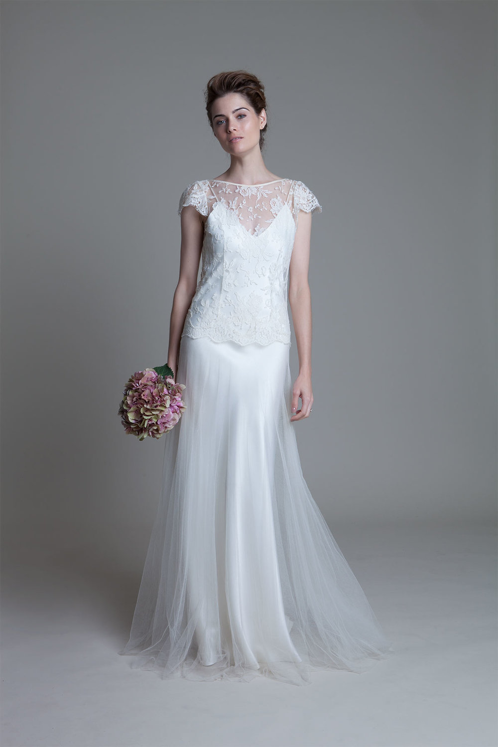 Iris Classic with cap lace sleeves tulle skirt and Iris crepe backed satin slip by Halfpenny London
