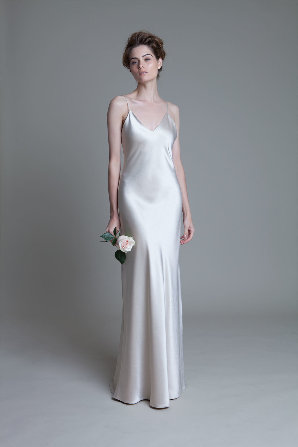 Iris V neck blush slip wedding dress by Halfpenny London