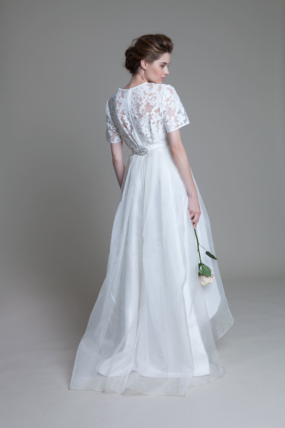 Back view of the high low Lola wedding dress by Halfpenny London