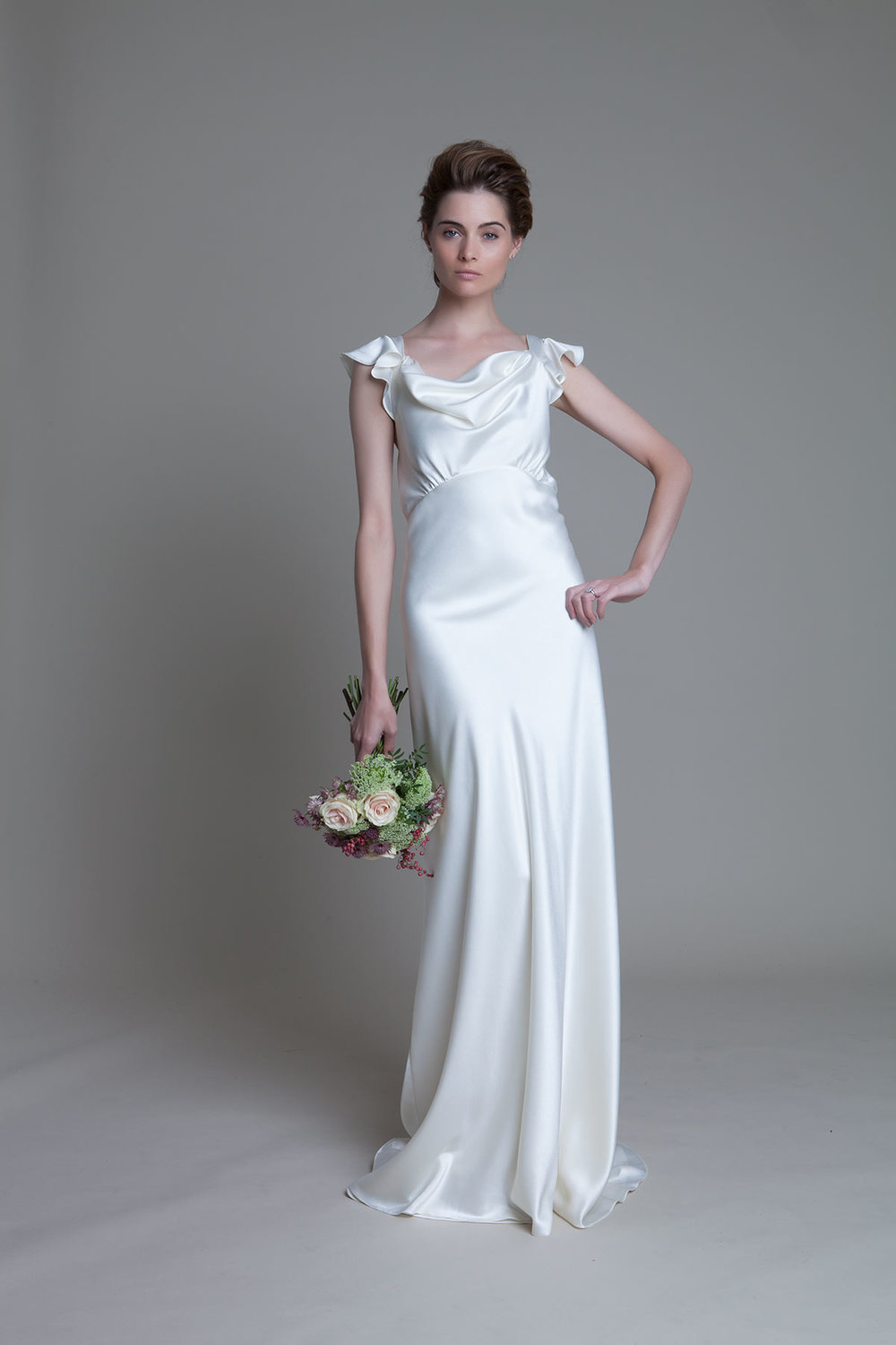 Sarah soft cowl neck and empire line bias cut satin bridal wedding dress by Halfpenny London