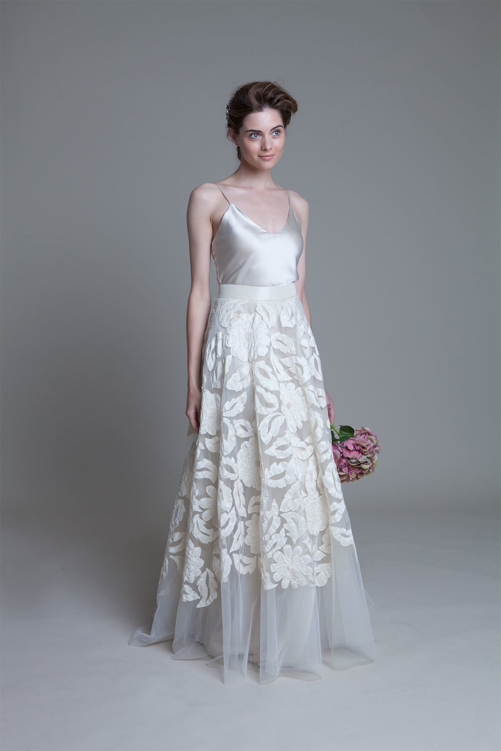Susie hand applique tulle skirt with iris backless bias cut slip wedding dress by Halfpenny London