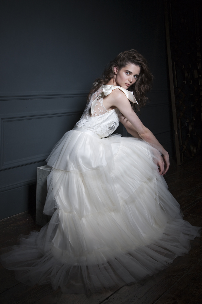 Detailed view Irene French Lace Tee and silk bow shoulder details paired with the Rita silk tulle frill skirt Bridal wedding dress by Halfpenny London