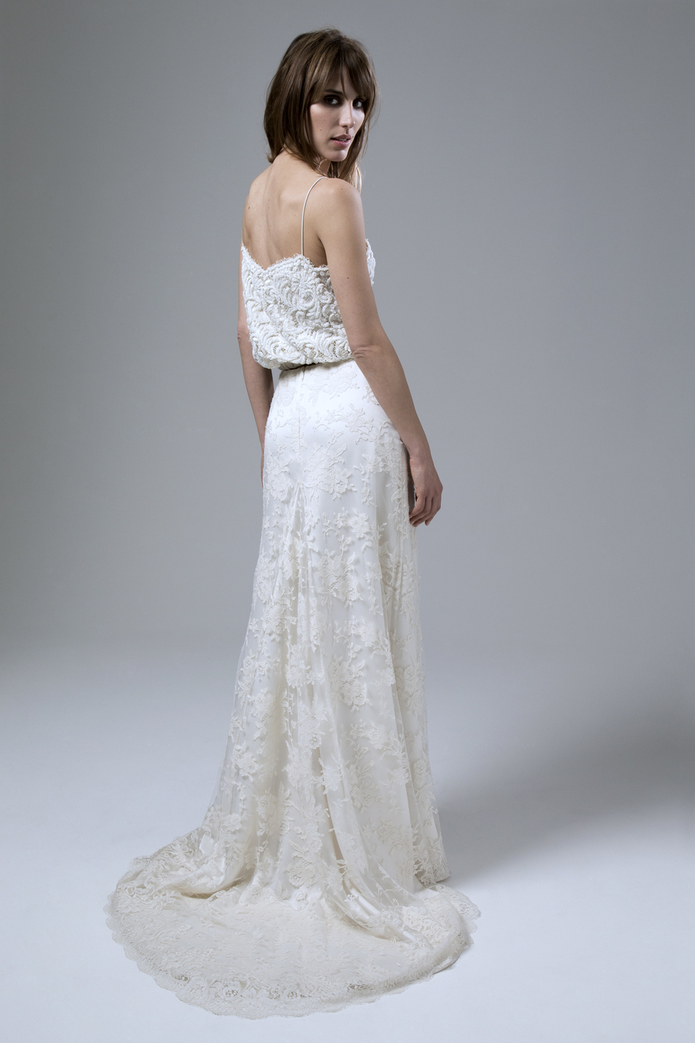 Back of the Thea Beaded Camisole and Andrea French Lace Skirt Two Piece Wedding Dress by Halfpenny London
