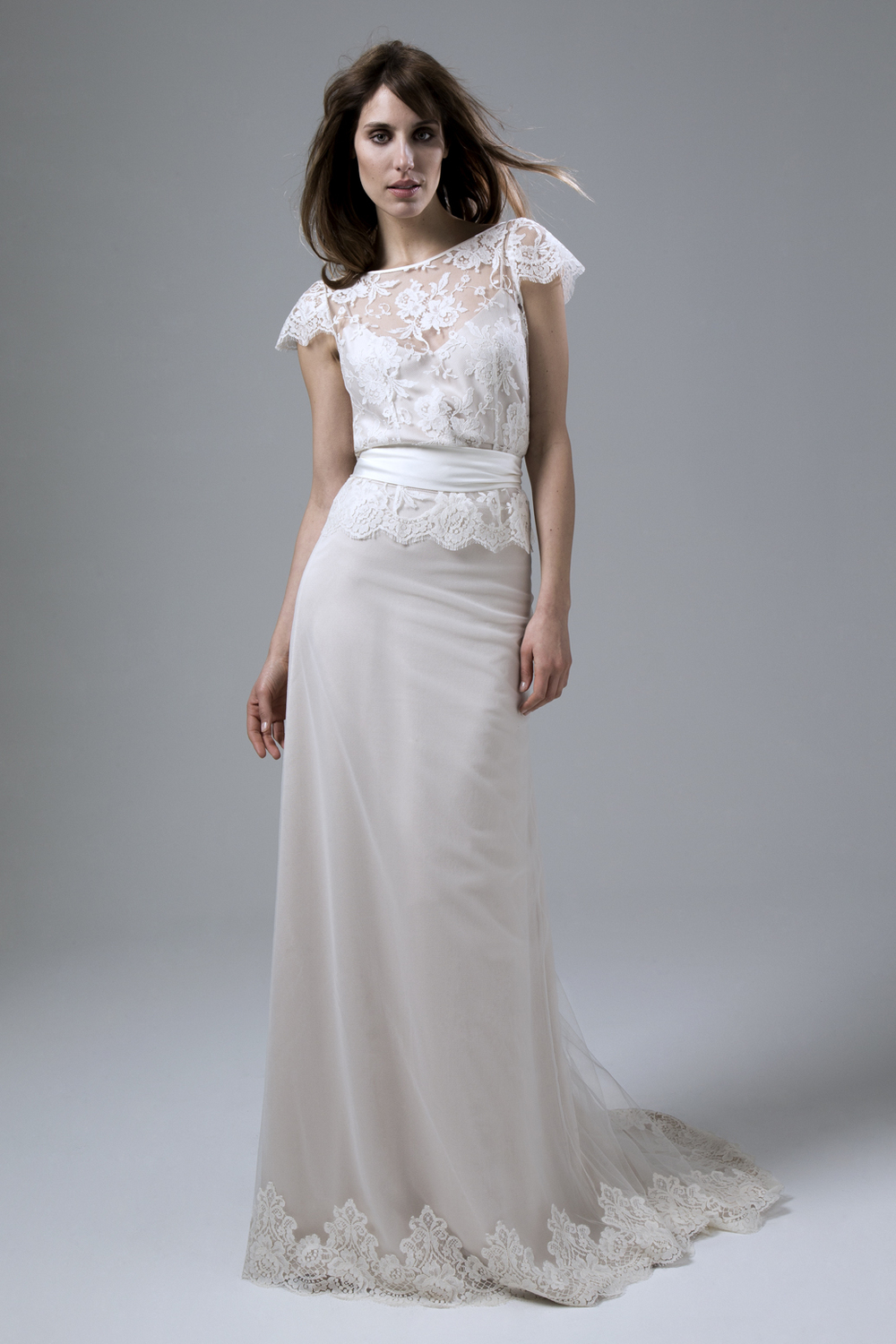 Iris French Lace Jacket with Andrea Silk Tulle and French Lace Skirt with Ivory Sash Wedding Dress by Halfpenny London
