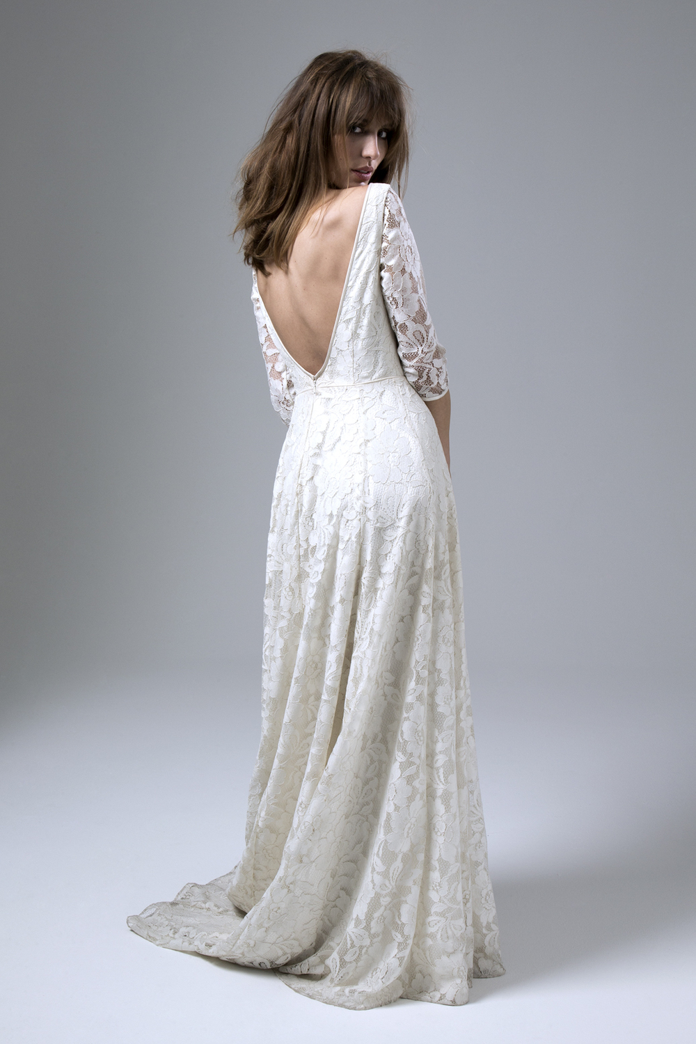 Back of Antonia Large Floral Lace Backless Wedding Dress by Halfpenny London