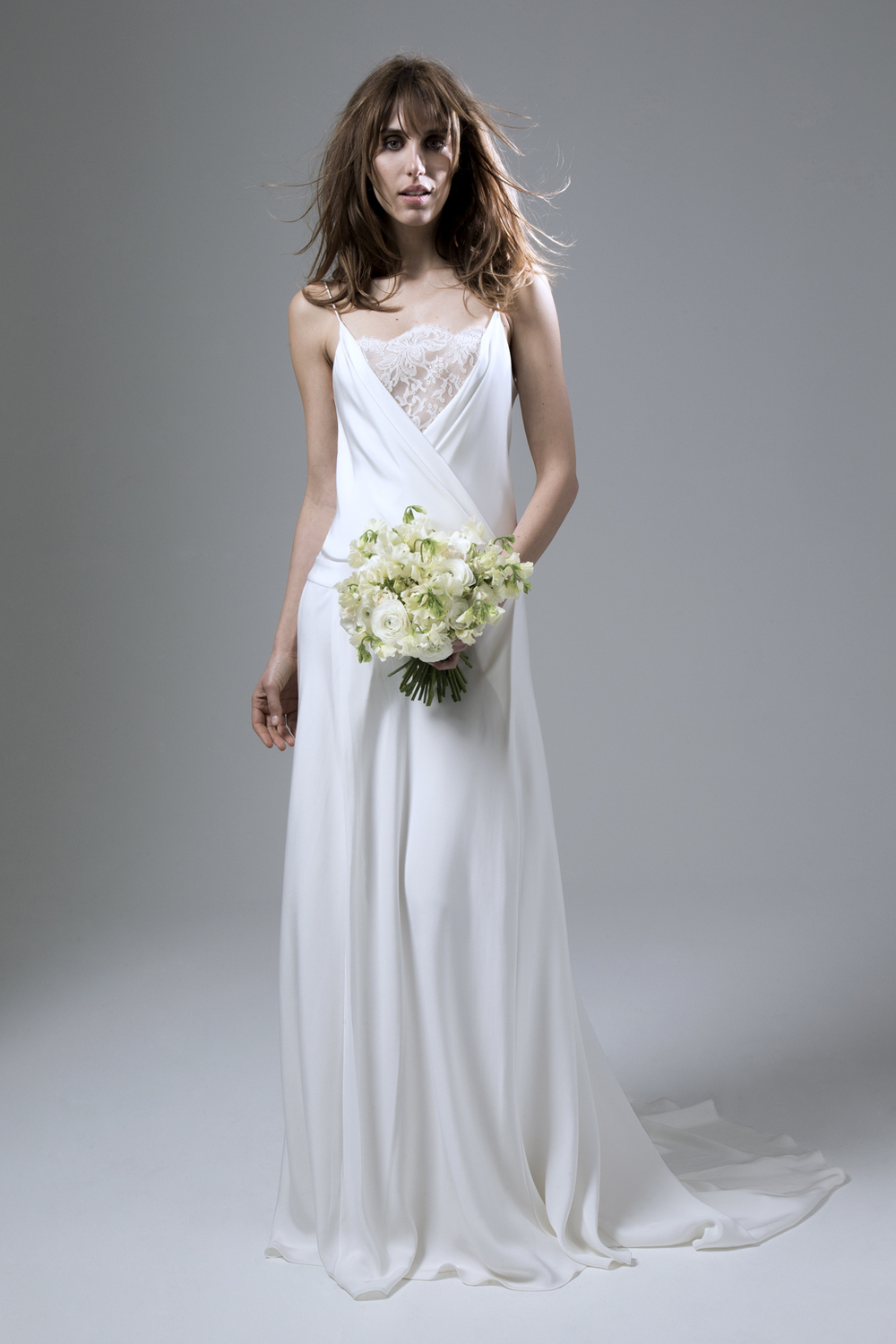 Cherry Silk Crepe Dropped Waist Backless Wedding Dress by Halfpenny London