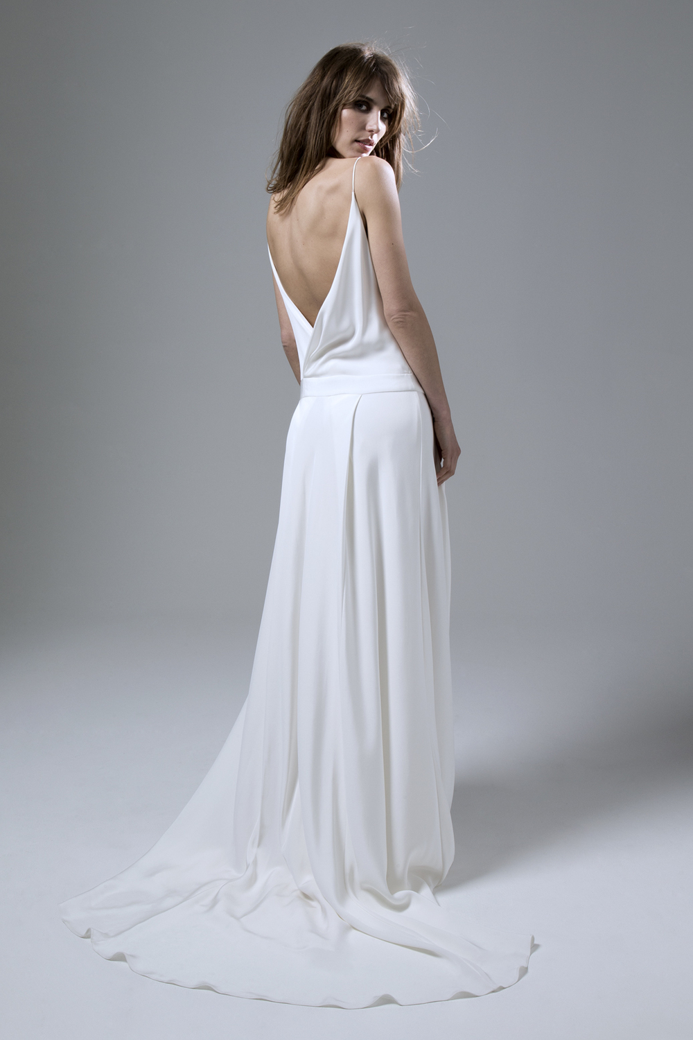 Back of the Cherry Silk Crepe Dropped WaistBackless Wedding Dress by Halfpenny London