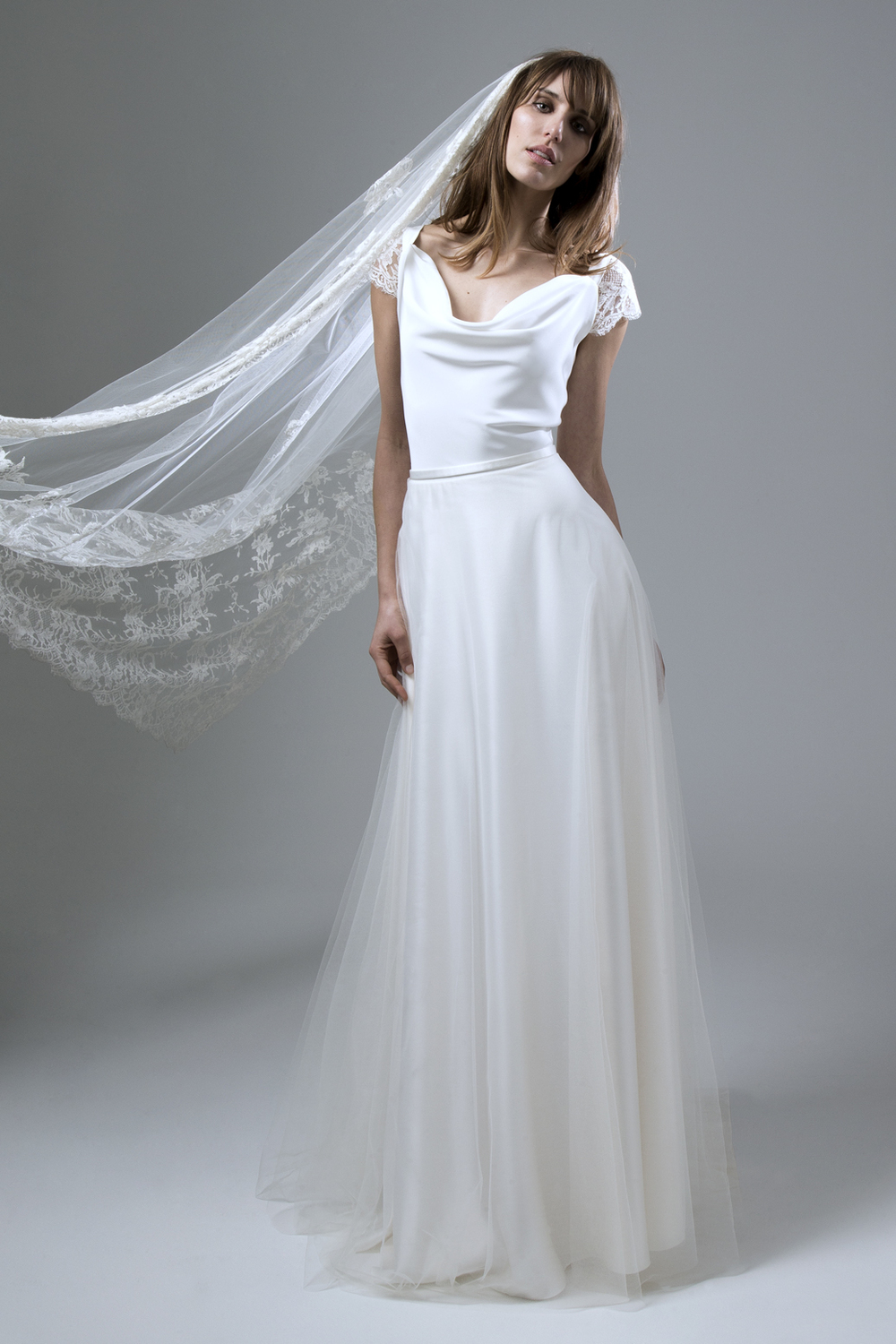 5896b22615ddfe Clare Silk Crepe Cowl Neck with Silk Tulle Circular Skirt Wedding Dress by  Halfpenny London