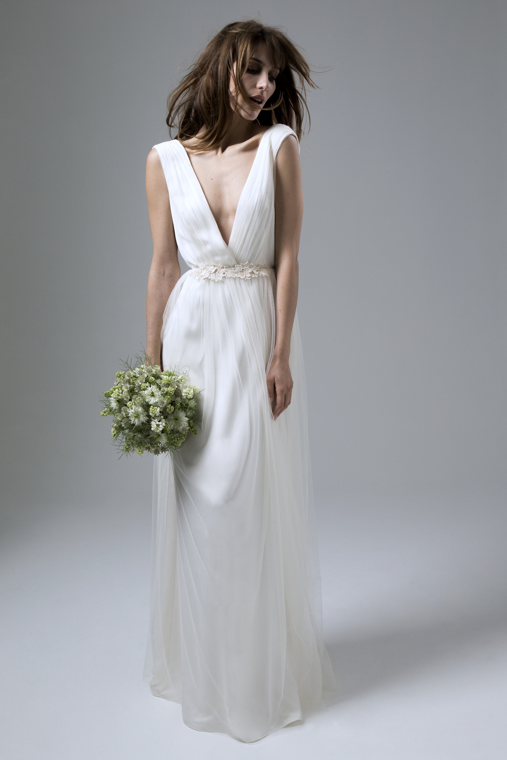 Clemence Tulle Dress with Guipure Flower Detail Wedding Dress by Halfpenny London