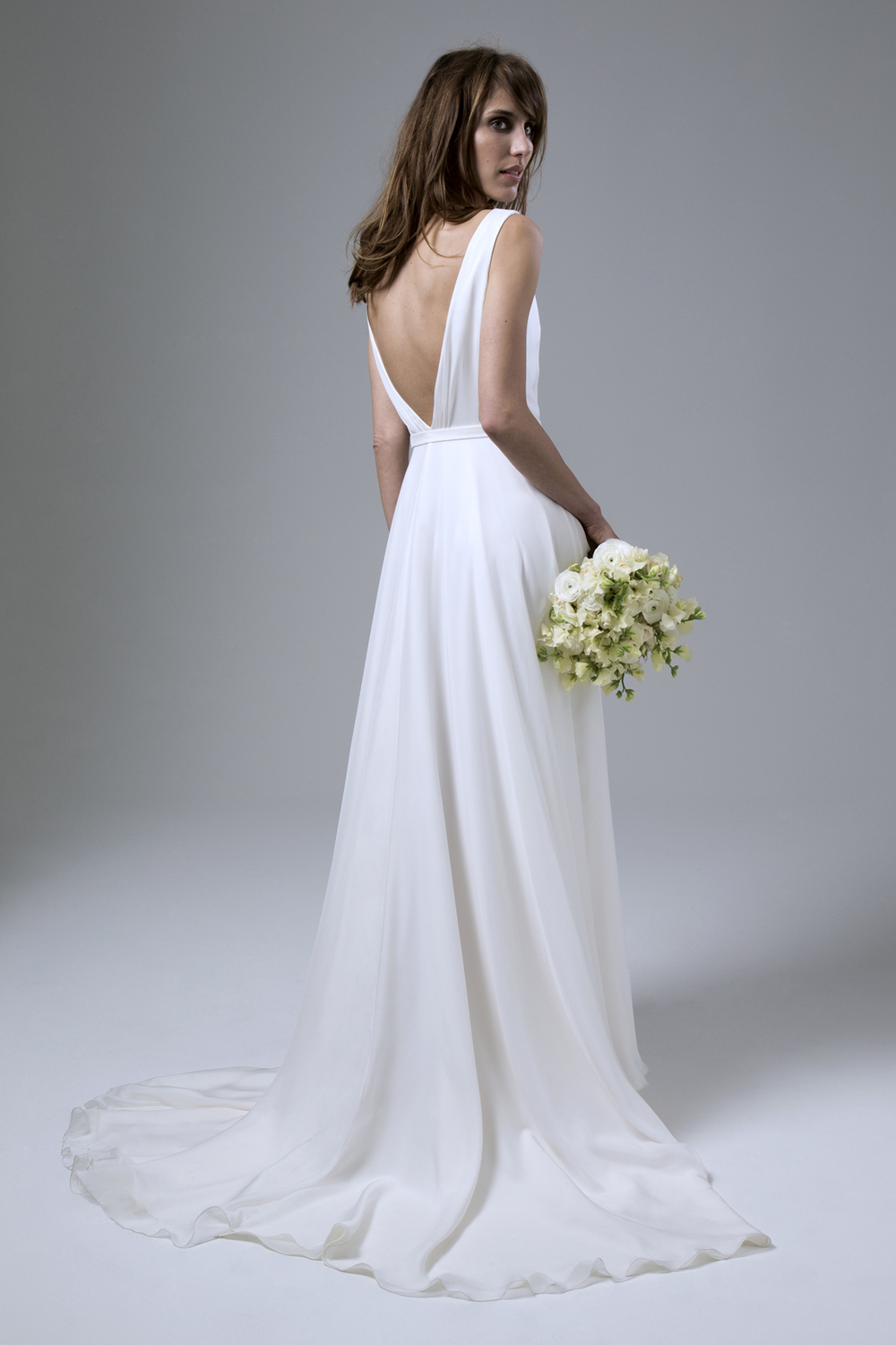 Back view of the Daisy Silk Chiffon Cross Over Wedding Dress by Halfpenny London