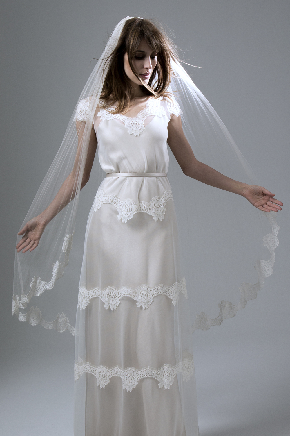 Emily Tulle and French Lace Dress with Narrow Belt Wedding Dress by Halfpenny London