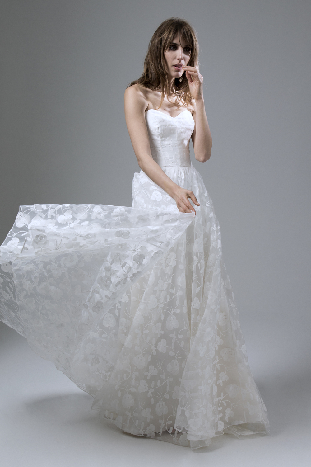 Esme Embroidered Organza Strapless Wedding Dress with Circular Skirt Designed by Halfpenny London