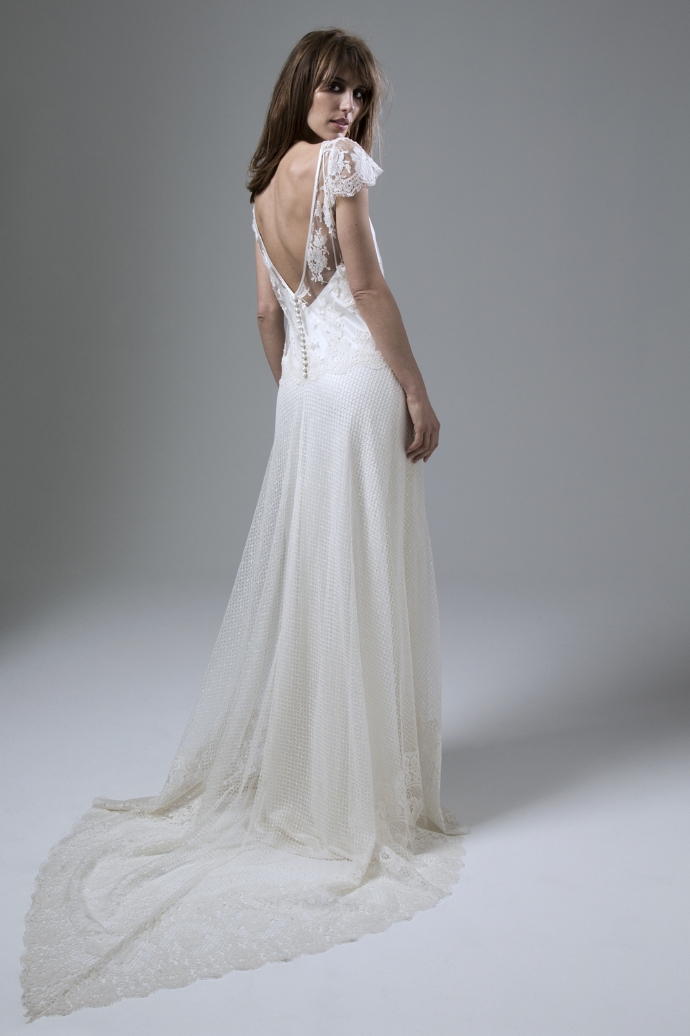 Back View Of The Iris Honey Full French Lace Wedding Dress By Halfpenny  London