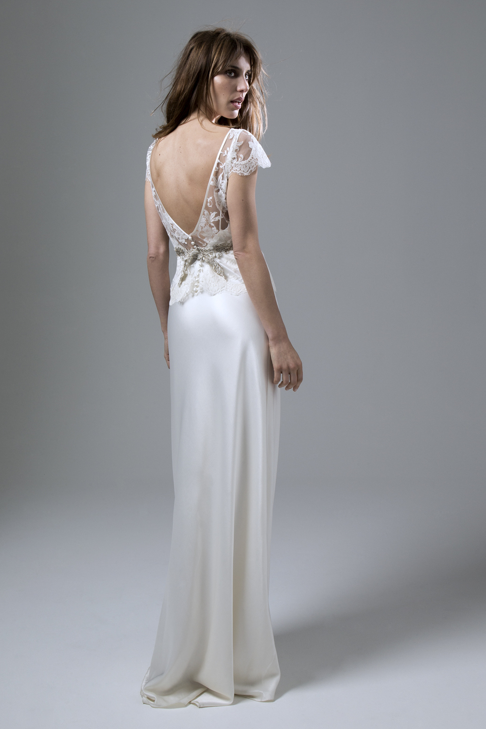 Iris French Lace Jacket And Iris Low Backed Satin Slip Wedding Dress By  Halfpenny London