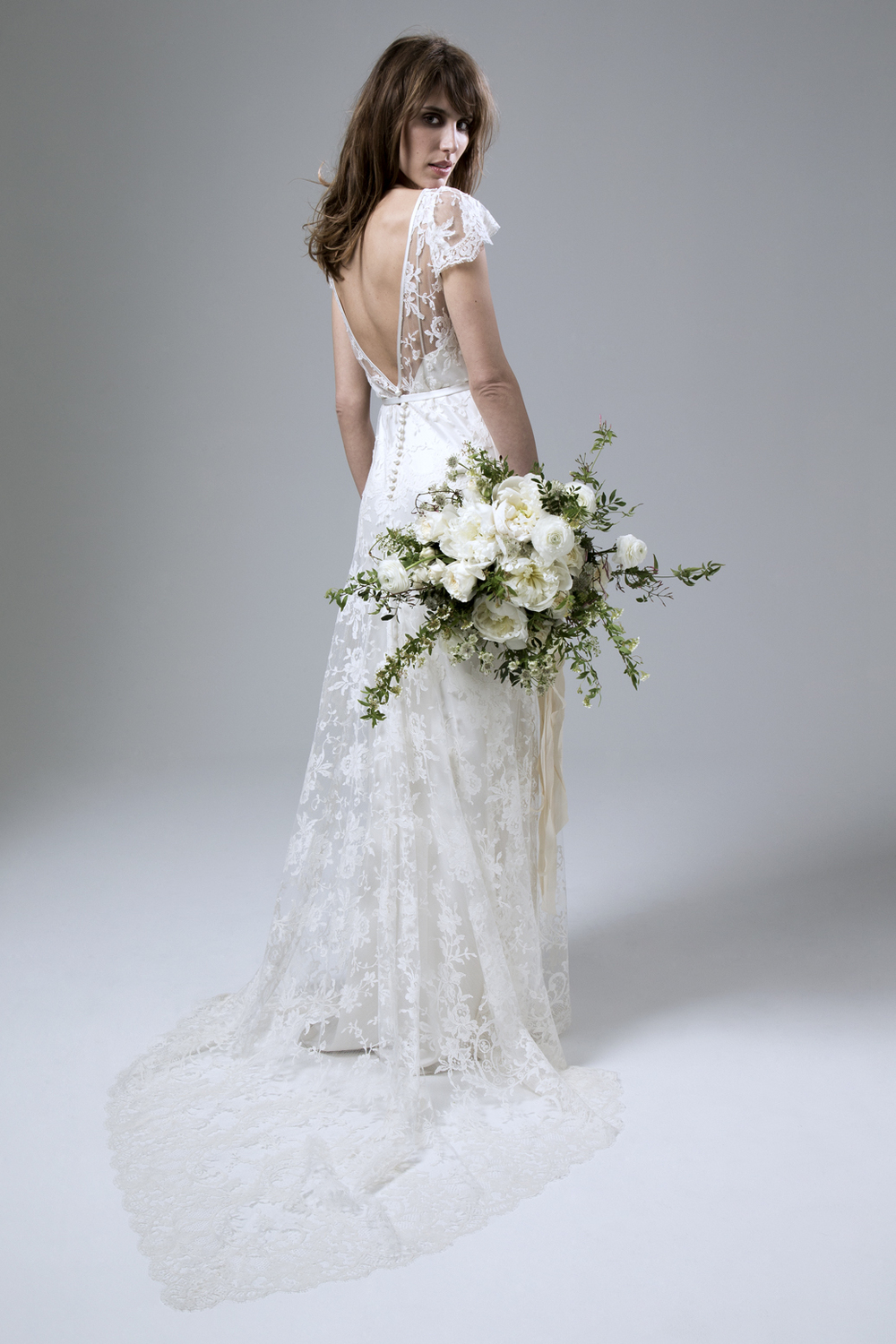 Back view of the Iris Rose Full French Lace Wedding Dress by Halfpenny London