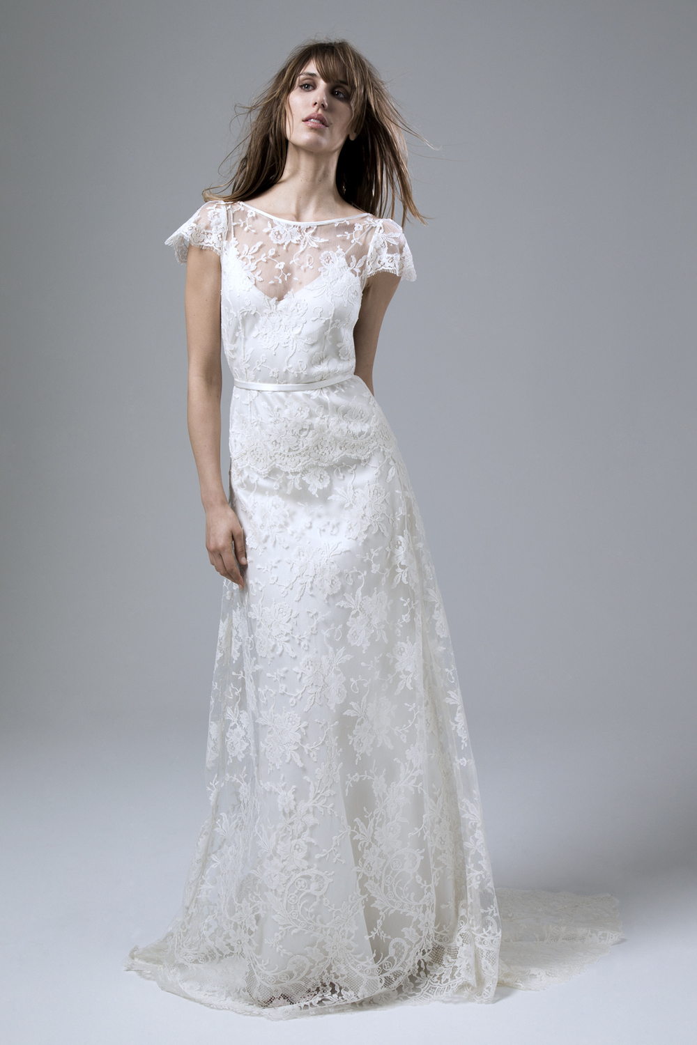 Iris Rose Full French Lace Wedding Dress by Halfpenny London