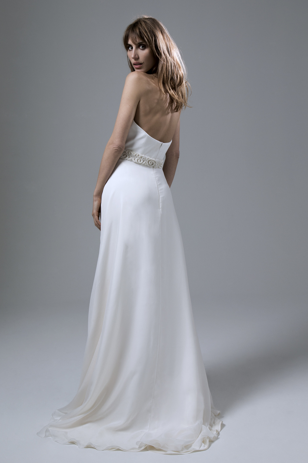 Back view of the Isobel Crepe Corset and Lizzy Circular Chiffon Skirt by Halfpenny London