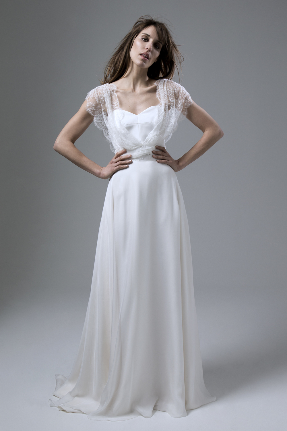 Lizzy draped gathered waist lace cover up, Isobel Corset and Lizzy chiffon skirt by Halfpenny London