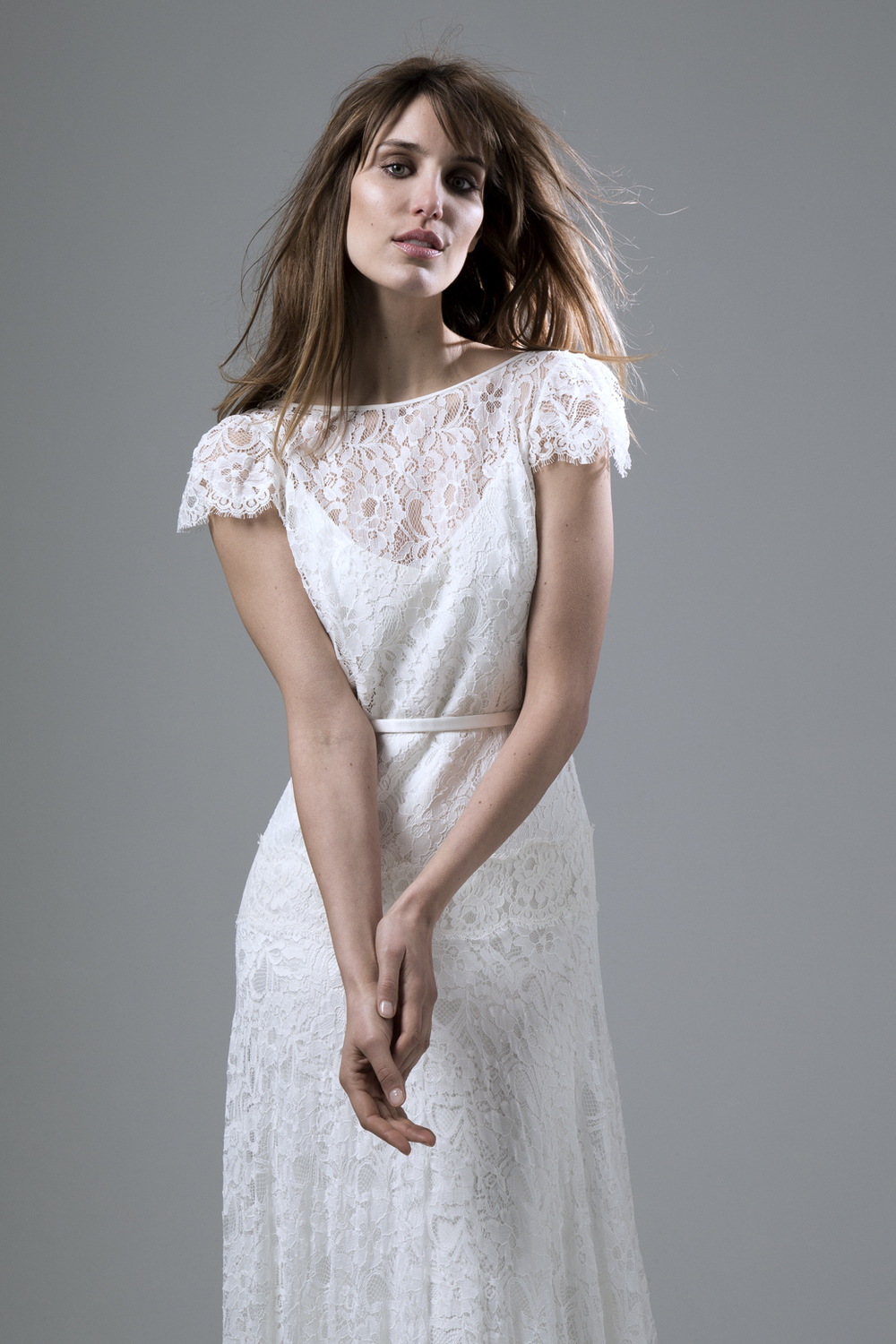 Violet soft fine corded lace backless dress with a dropped waist wedding dress by Halfpenny London