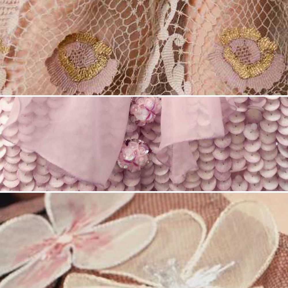 Dusky pink dreams with a hint of sequins and metallics .