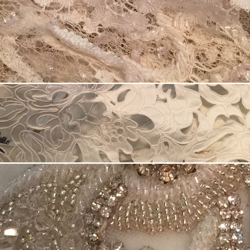 These are fabrics from our 2016 collection. Hand headed French lace, laser cut and corded silk and diamontes and beaded appliqués.