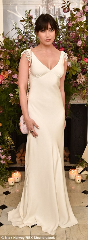 Daisy Lowe wears the silk crepe bias cut Vera wedding dress with French  knot detail and db8e7b710