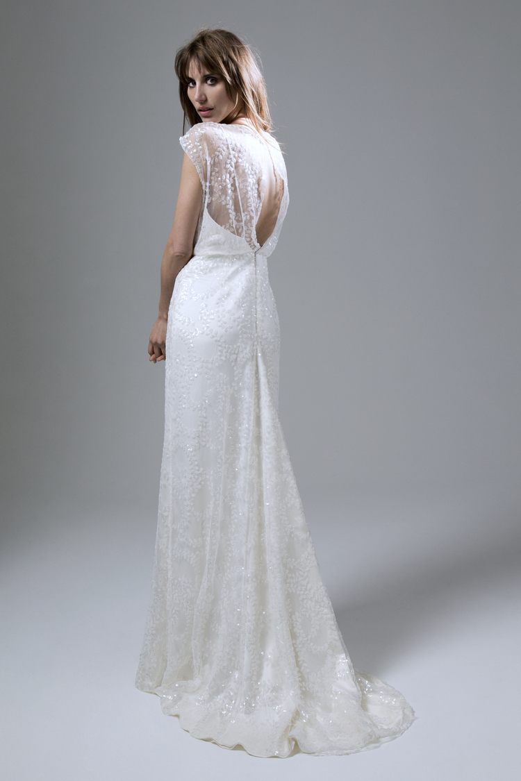 lydia our dress of the week train wedding dress LYDIA SEQUIN IVORY SLASH NECK DRESS WITH PUDDLE TRAIN WEDDING DRESS BY HALFPENNY LONDON