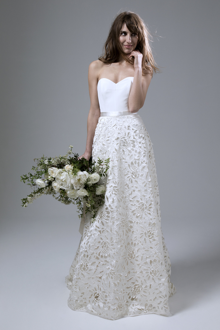 Isobel crepe corset and Isobel satin laser cut skirt.  Wedding dress by Halfpenny London