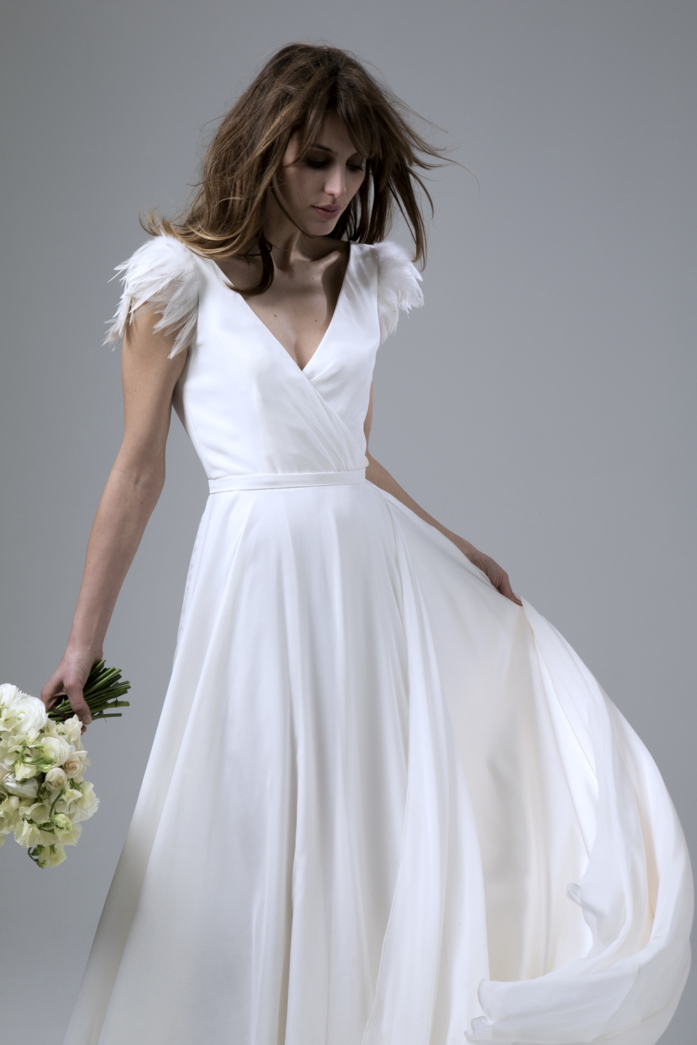 DAISY silk chiffon wedding dress with deep V back and feathred cap sleeves by Halfpenny London