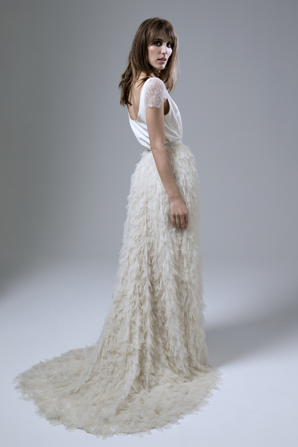 SWAN TULLE PETAL SKIRT AND SWAN CREPE SCOOP NECK TEE WITH CHANTILLY LACE SLEEVES WEDDING DRESS BY HALFPENNY LONDON