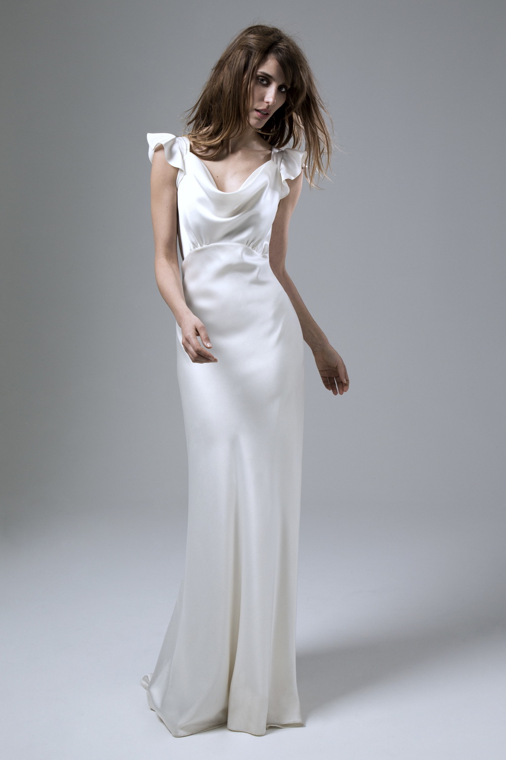 SARAH SOFT COWL NECK AND EMPIRE LINE BIAS CUT SATIN WEDDING DRESS BY HALFPENNY LONDON