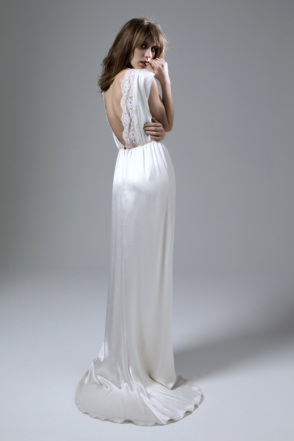 BACK VIEW OF HENNIE DRESS IN HAMMERED SILK AND FRENCH LACE TRIM WEDDING DRESS BY HALFPENNY LONDON
