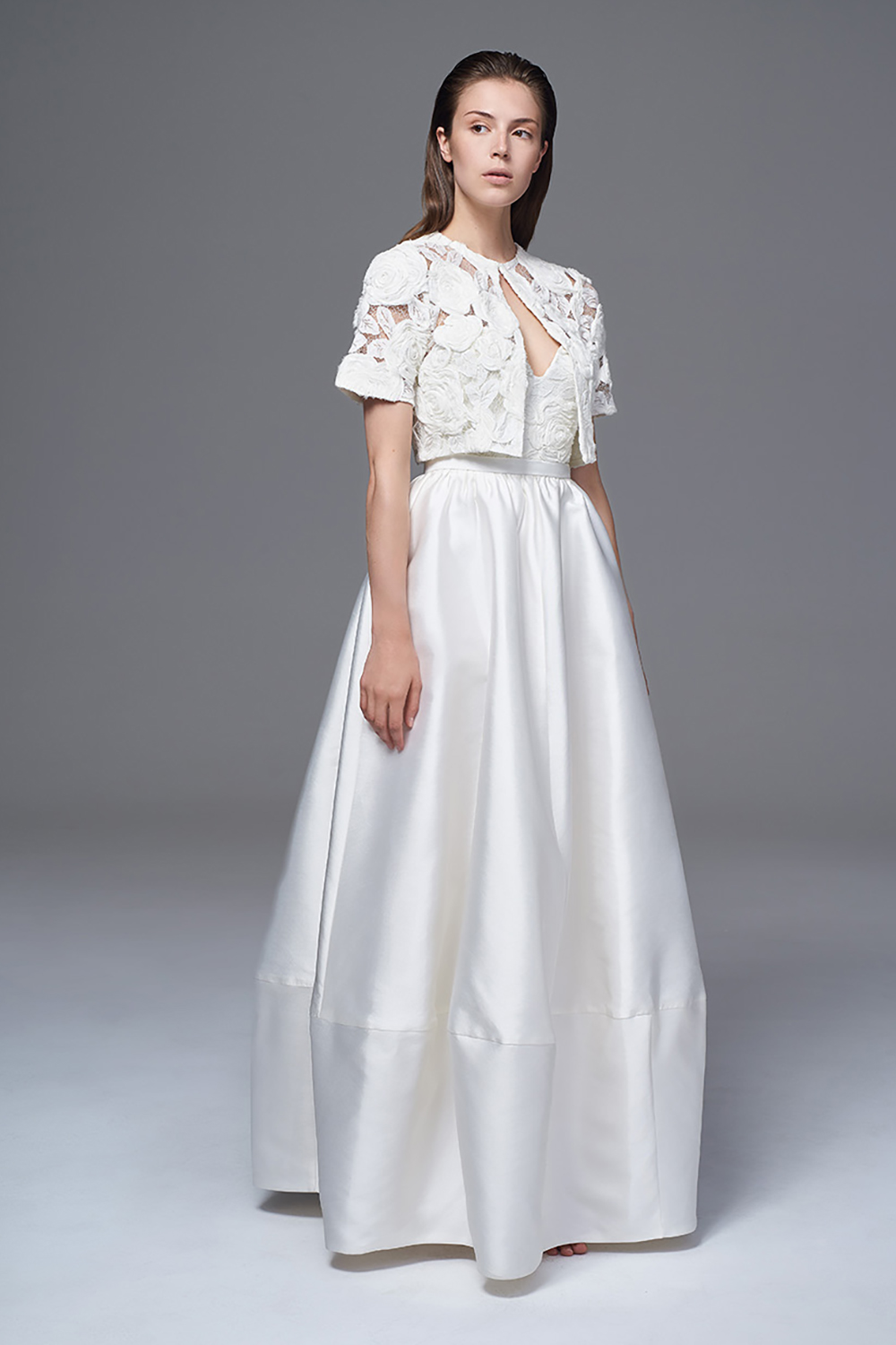 ALEXA BOX PLEATED SKIRT WITH THE ROSA BOLERO JACKET BRIDAL WEDDING DRESS BY HALFPENNY LONDON