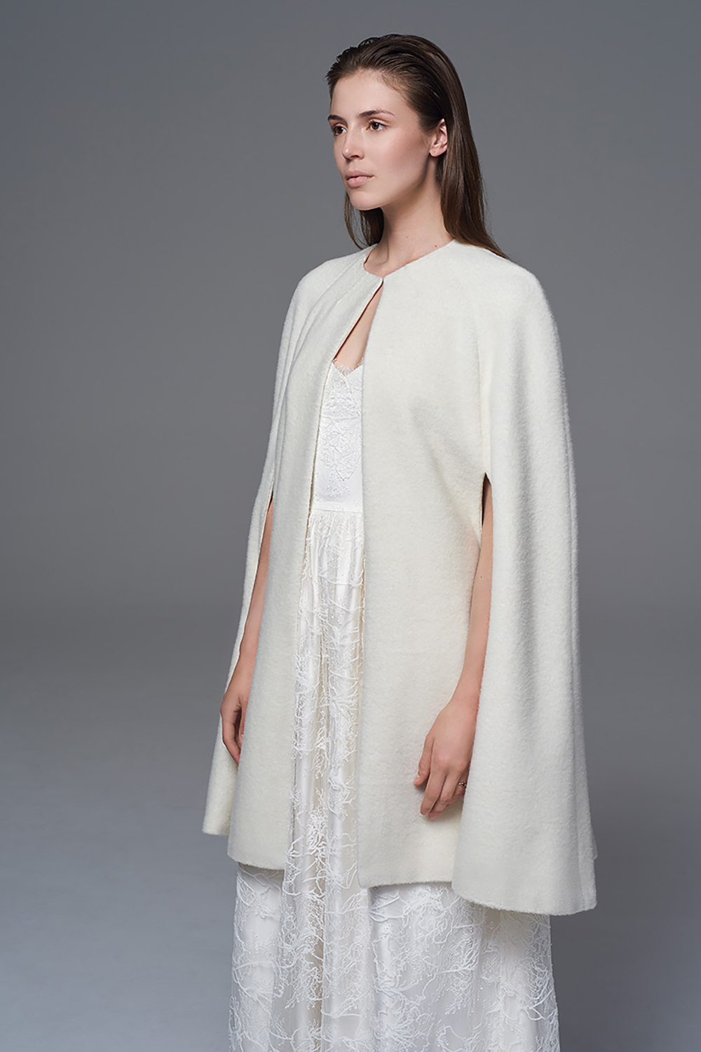 THE WOOL CAPE BRIDAL WEDDING DRESS BY HALFPENNY LONDON