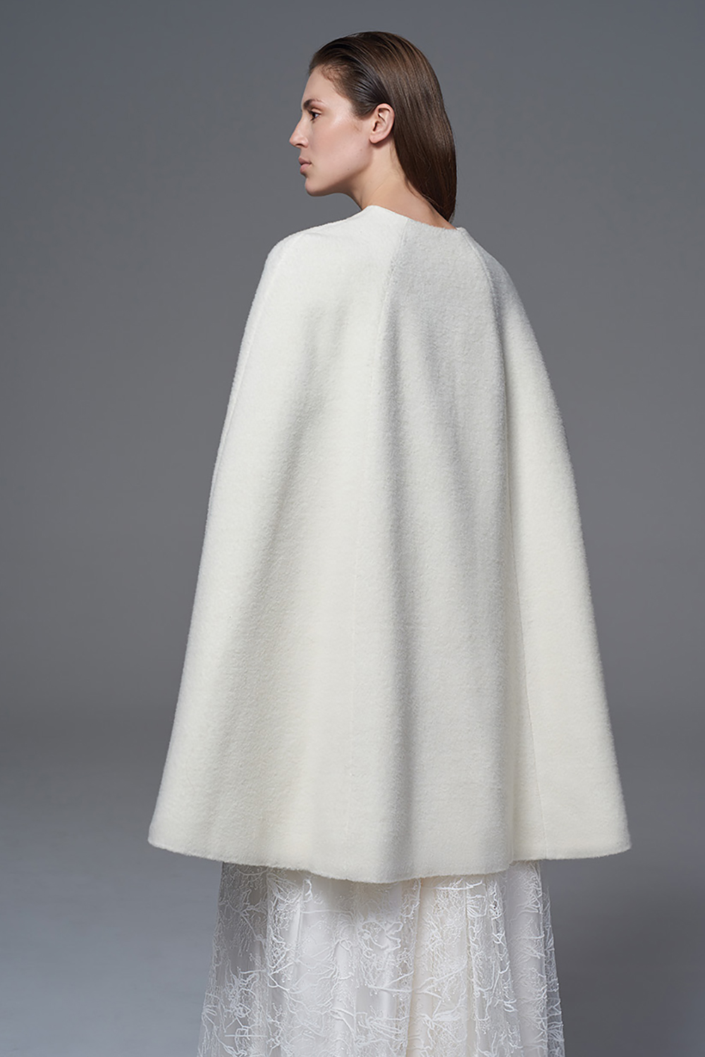 WOOL CAPE BRIDAL WEDDING DRESS BY HALFPENNY LONDON
