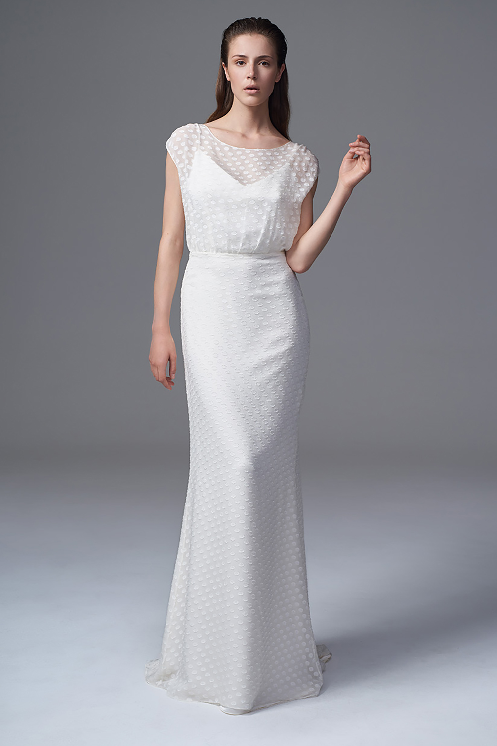 THE CHLOE POLKA DOT CHIFFON DRESS WITH SLASH NECK AND GODET TRAIN. BRIDAL WEDDING DRESS BY HALFPENNY LONDON