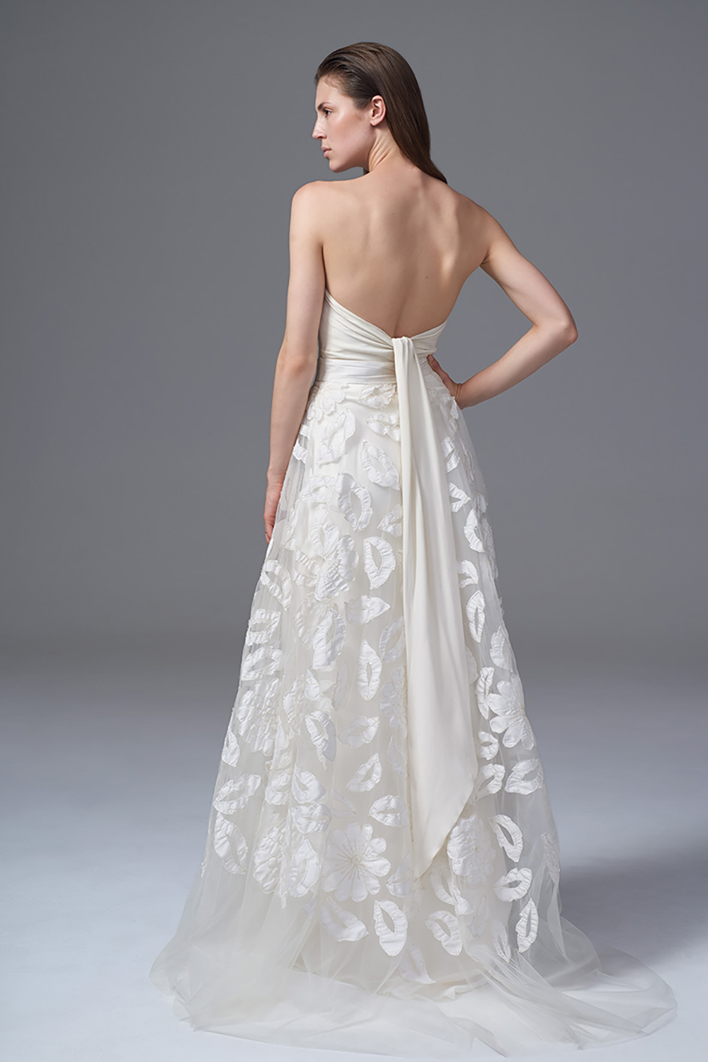 THE SUSIE HAND APPLIQUED AND TULLE SKIRT WITH THE DITA LACE APPLIQUED CORSET. BRIDAL WEDDING DRESS BY HALFPENNY LONDON
