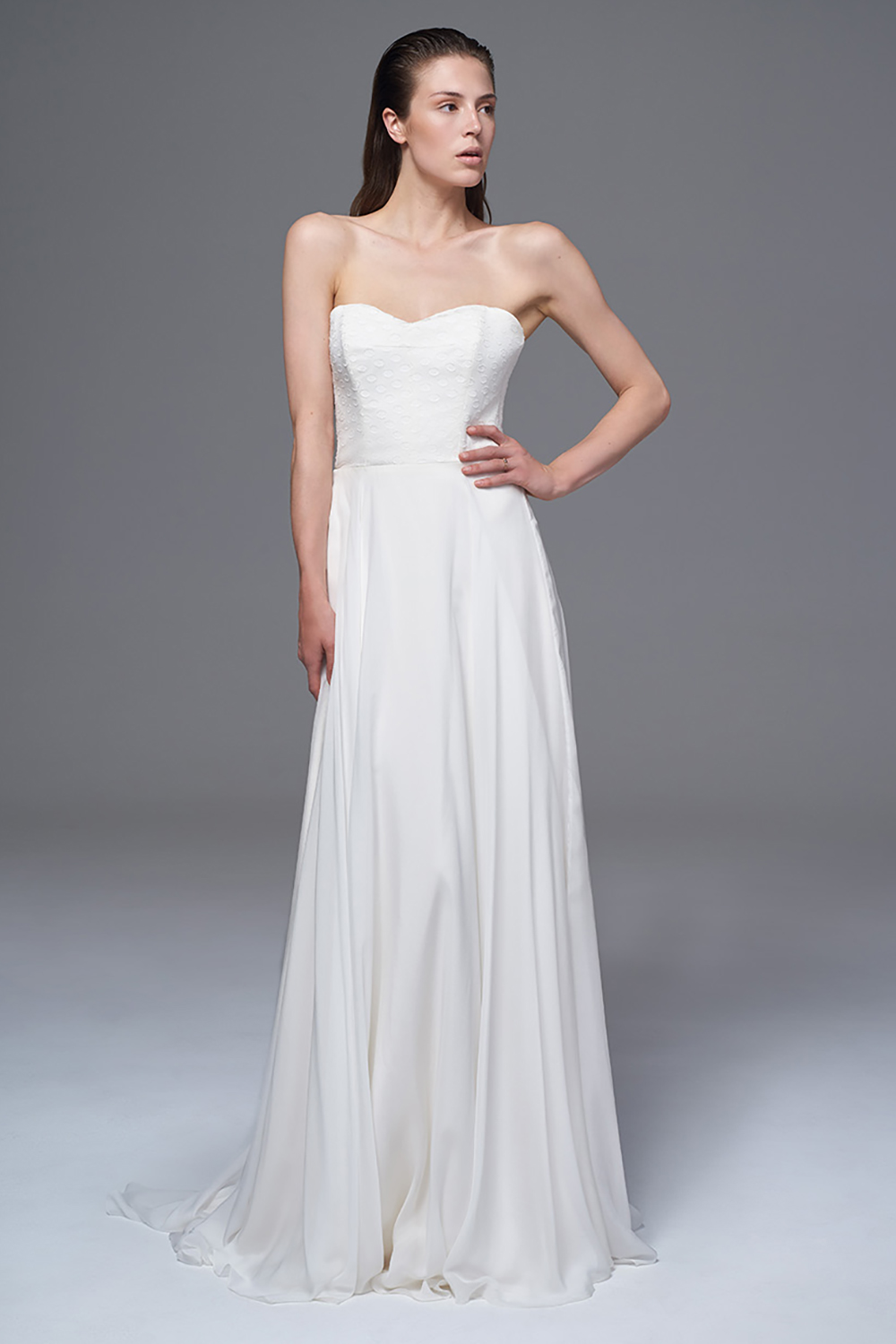 THE ELKE POLKA DOT AND CHIFFON STRAPLESS DRESS. BRIDAL WEDDING DRESS BY HALFPENNY LONDON