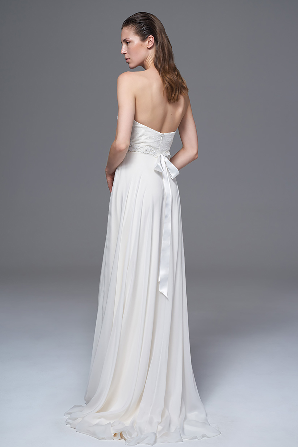 THE ELKE POLKA DOT AND CHIFFON STRAPLESS DRESS WORN WITH THE IVORY JESSICA BELT. BRIDAL WEDDING DRESS BY HALFPENNY LONDON