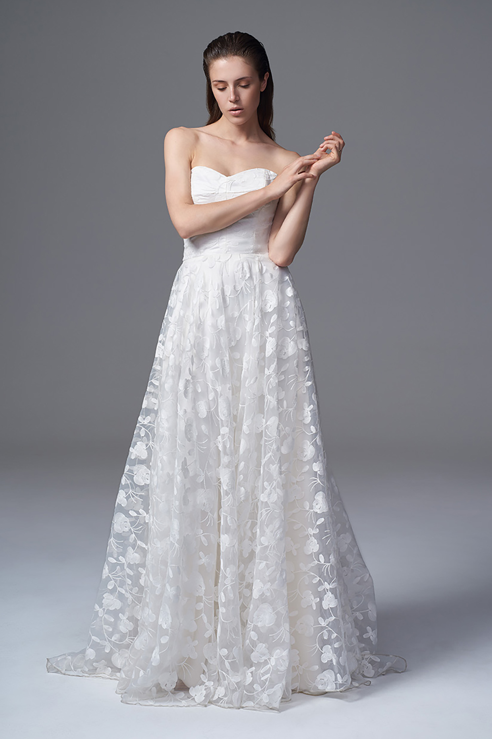 THE ESME STRAPLESS AND SOFT BONED SWEETHEART DRESS IN FULL EMBROIDERED ORGANZA. BRIDAL WEDDING DRESS BY HALFPENNY LONDON