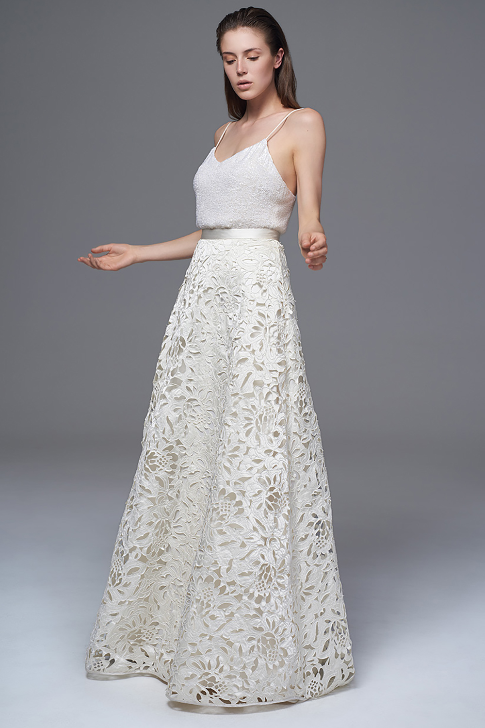 THE ISOBEL ITALIAN LASER CUT SATIN SKIRT AND THE CELINE SEQUINNED CAMISOLE WITH SPAGHETTI STRAPS. BRIDAL WEDDING DRESS BY HALFPENNY LONDON