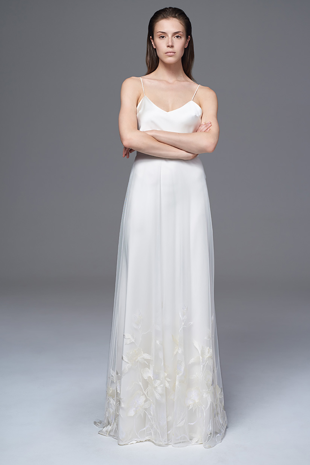 THE LILY SHEER TULLE SKIRT WITH CLIMBING EMBROIDERED FLOWERS AND CLASSIC IRIS SLIP. BRIDAL WEDDING DRESS BY HALFPENNY LONDON